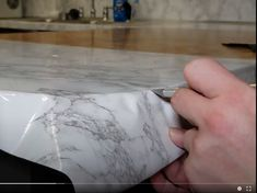 Contact Paper Countertops Full Tutorial And Review - The Nifty Nester Cheap Kitchen Countertops, Diy Wood Countertops, Counter Edges, Contact Paper, Stick It Out, Home Repair, Diy Kitchen, Nifty, Kitchens