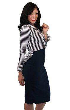 Our Tatyana Striped Peplum Dress, $138.00 #dress #pinup #rockabilly