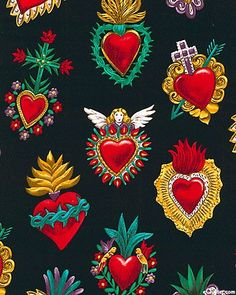 Felt Ideas - Used the example of the heart at bottom right to make a felt ornament for a friend from Mexico oxcana style mexican folk art sacred alter hearts fabric applique embroidery design ideas Mexican Fabric, Mexican Folk Art, Tin Art, Mexican Designs, Heart Art, Religious Art, Art Projects, Illustration Art, Artsy