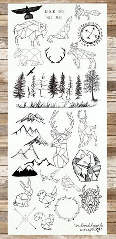 Geometric Animals & Rustic Landscape by WeLivedHappilyEverAfter on @creativemarket