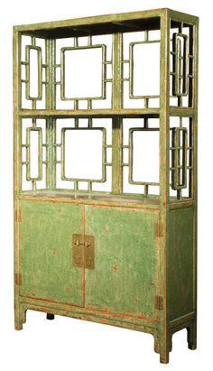 Lien 2 Door/Shelf Cabinet - Crackled Green - Mason Home | domino.com