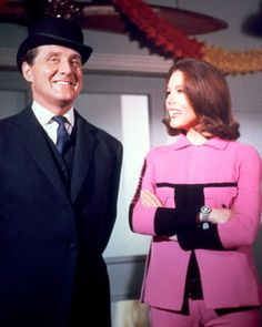 "Patrick Macnee as 'John Steed' and Diana Rigg ✾ as 'Emma Peel' from ""The Avengers"""
