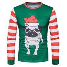 Men Cute Dog Printed Round Neck Long Sleeves Top