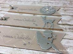 mit Engel, Bambi & Schneeflocke... die Schneeflocke ist von memory box... der schöne Engel von Renke Manufaktur... sowie auch das süße Bambi und das bedruckte Kraftpapier ist von StampinÚp!... Ic