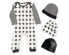Baby Romper & Optional Hat, Hipster Minimalist Black and Ivory Pattern, Baby Boy Girl Unisex, Newborn Baby Take Home Outfit Gift, Tesa Babe