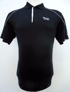 061b9c7f Nike Golf Dri-Fit Tech Core Stripe Black Polo Shirt Mens Size L   eBay