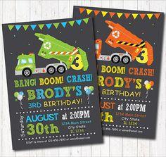 Garbage Truck Birthday Invitation Garbage Truck Birthday