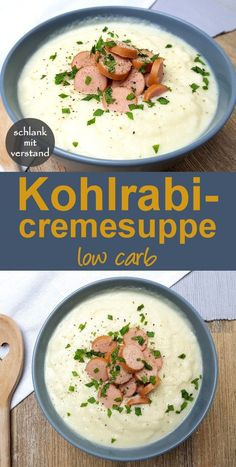 Kohlrabicremesuppe low carb Rezept - Perfekt zum gesunden Abnehmen im Rahmen ein. Kohlrabi cream soup low carb recipe - perfect for healthy weight loss as part of a low carb lchf keto diet - low carb recipes - slim-minded Easy Soup Recipes, Healthy Dinner Recipes, Low Carb Recipes, Diet Recipes, Healthy Snacks, Vegetarian Recipes, Macaroni Recipes, Diet Meals, Noodle Recipes