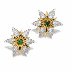 Pair of diamond and emerald flower earclips, Schlumberger for Tiffany & Co. Jewelry Box, Jewelry Accessories, Jewelry Design, Fine Jewelry, Green And Gold, White Gold, Tiffany Outlet, Tiffany And Co Jewelry, Round Diamonds