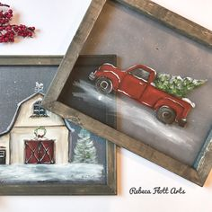 Painted red truck with a Christmas tree on wood Christmas Truck, Christmas Wood, Christmas Signs, Christmas Decorations, Christmas Canvas, Xmas, Woodland Christmas, Christmas 2019, Painted Window Screens