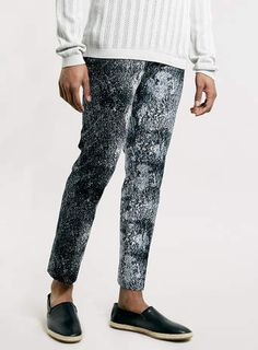 Navy Oil Print Ultra Skinny Trousers.