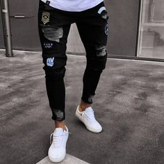 Littleice Mens Jeans Skinny Stretch Denim Pants Distressed Ripped Freyed Hole Zipper Slim Fit Jeans Pencil Trousers