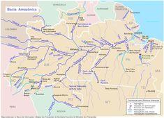 Mapa da Bacia hidrográfica do Amazonas.  Fotografia: Secretaria Executiva do Ministério dos Transportes do Brasil.