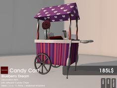 from 22769 ~[bauwerk] you find on the Candy Fair in sl, this neat candy cart.  Four styles are available for you to choose from: Mint Flash, Choclette Toffee, Cherry Pop and Blueberry Dream