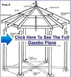 DIY Gazebo Plans, Designs, Blueprints And Diagrams For Building A Gazebo Fast And Cheap Diy Gazebo, Gazebo Plans, Backyard Gazebo, Diy Deck, Deck Plans, Patio Roof, Pergola Kits, Pergola Ideas, Pergola Garden