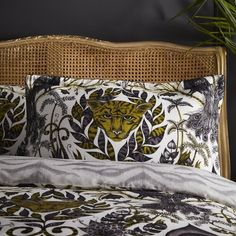 Emma J Shipley for Clarke & Clarke Inspired by a trip to the Harbor jungle, the design features jaguar faces and surrealist parrots in an enchanting jungle scene. Jaguar, Boudoir, Jungle Scene, Pillow Protectors, Tiger Stripes, Quilted Pillow, Quilt Bedding, Duvet Sets, Timeless Elegance