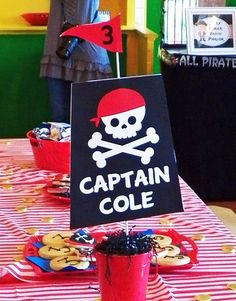 Pirate Birthday Party centerpieces!  See more party ideas at CatchMyParty.com!
