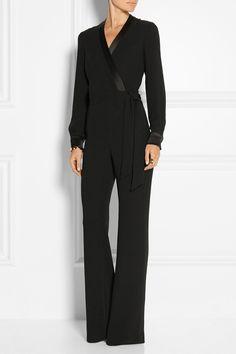 Diane von Furstenberg|Margot satin-trimmed crepe wrap jumpsuit|NET-A-PORTER.COM