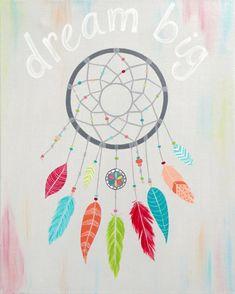 Dream Big Inspirational Girls Wall Art -Catch Your Dream 8x10 Print- Art for girls room - dream catcher - wall art for teens by Randi Kay Murphy of RK Brushworks