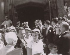 Never-before-seen wedding photos of JFK and Jackie Kennedy - Slideshows and Picture Stories - TODAY.com. GROOMSMEN (#2): Michael Canfield, friends Lem Billings, Red Fay, and Torbert MacDonald, Senate colleague George Smathers, and Charles Bartlett, who had introduced the couple.