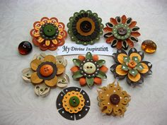 Fall Paper Embellishments and Paper Flowers by mydivineinspiration, $4.99