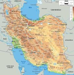 Maps of Iran, Tehran city map, railway map, physical map, ethnic map