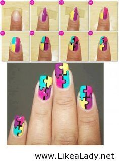How to make puzzle nail art step by step