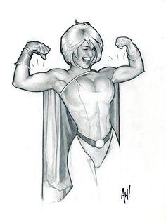 "radiationdude: "" Power Girl, by Adam Hughes "" Adam Hughes, Comic Book Artists, Comic Artist, Comic Books Art, Female Comic Characters, Dc Comics Characters, Superman Comic Books, Comic Book Heroes, Power Girl Comics"