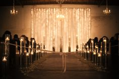 Gorgeous String Light Wedding Ceremony Backdrop with White Drape- The Croft Downtown Light Wedding, Dream Wedding, Wedding Ceremony Backdrop, Wedding Venues, Wedding Stuff, Wedding Ideas, Downtown Phoenix, Warehouse Wedding, String Lights