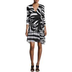 Diane von Furstenberg 3/4-Sleeve Zebra-Print Wrap Dress ($167) ❤ liked on Polyvore featuring dresses, zebra simple blk, 3/4 sleeve a line dress, woven dress, wrap dress, zebra print dresses and zebra dress