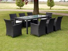 Rattan Möbel 17 Teilig Gartenmöbel Sitzgruppe Set Schwarz Rattan Garden  Furniture Sets, Dining Furniture