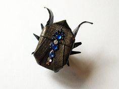 STEAMPUNK origami scarab beetle pin