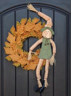 Fall Wreath-Thanksgiving Wreath-Halloween Orange Fall Leaves-Grapevine Door Wreath Decor-Indoor/Outdoor Decoration-Scarecrow-One of a Kind by AnExtraordinaryGift on Etsy