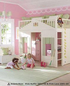 Pink & green girls bedroom