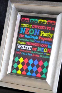 Neon Glow In The Dark Party Invitation