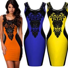 ORANGE BLUE YELLOW 2014 New Black Embroidery Bodycon OL Elegant Pencil Dress Women Contrast Color Casual Summer Dress-in Dresses from Women's Clothing & Accessories on Aliexpress.com | Alibaba Group
