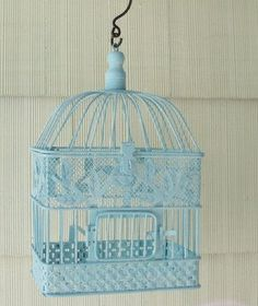 Vintage Decorative Bird Cage Hand Painted by upcyclesisters, $35.00