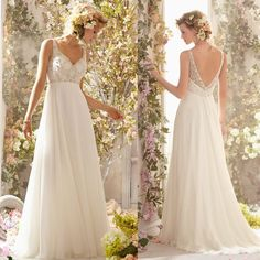 low back flowy wedding dress - Google Search
