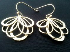 peacock feather Gold earrings