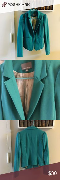 Vibrant teal blazer Great piece for fall!!!!  Color is a little brighter in real life- hard to photograph. Has seen light wear Jackets & Coats Blazers