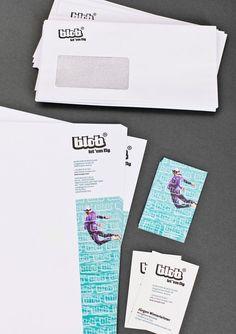 Das Corporate Re-Design der Trendsport-Marke Blob in seiner Anwendung auf Briefpapier, Visitenkarten und Kuverts. Corporate Design, Corporate Identity, Manual, Creative, Writing Paper, Business Cards, Textbook, Branding, Brand Design