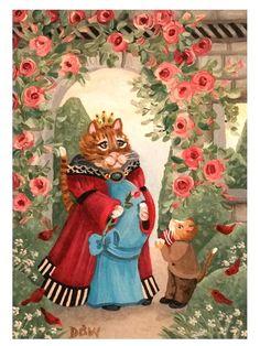 ACEO Original Acrylic Painting folkart cats garden whimsical pregnant Queen bird