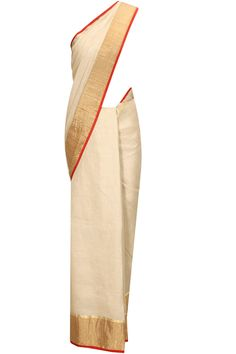 Beige and red zari border sari by Anavila. Shop now:  http://www.perniaspopupshop.com/designers/anavila #sari #anavila #shopnow #perniaspopupshop
