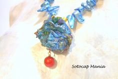 """19"""" Necklace, blue blister, yellow pototo pearls and red coral beads 