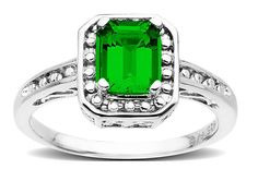 Jewelry.com | Classic Emerald Ring in Sterling Silver