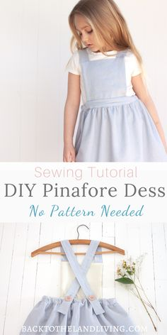 Learn how to make a girl's linen pinafore dress. This pinafore dress is easy to sew and is sweet on girls of all ages. Here is a written and video sewing tutorial with all the instructions needed for making this dress without a pattern. Baby Girl Dress Patterns, Baby Clothes Patterns, Sewing Patterns For Kids, Dress Sewing Patterns, Pattern Sewing, Apron Patterns, Pinafore Dress Pattern, Linen Dress Pattern, Girls Pinafore Dress
