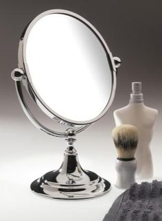 #porcelain_door_knobs     A freestanding mirror of the highest quality and craftsmanship. This item is chunky and weighty! It suits all bathroom styles or dressing tables. The mirror is reversible with one side 3x magnification     www.priorsrec.co.uk