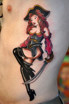 Pin up pirate tattoo