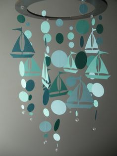 Southern Perl Designs Sailboat and Dot Mobile on Etsy Mobiles, Paper Art, Paper Crafts, Diy Crafts, Ideas Habitaciones, Deco Marine, Paper Mobile, Crafts For Kids, Arts And Crafts