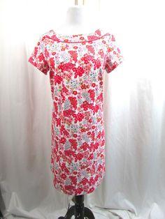 Boden Knit Cotton Pink Floral Multi Color Size 10 R Shift Dress Excellent #Boden #Casual